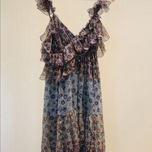 Max Studio floral ruffle silk dress